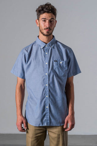 Brixton Central S/S Woven - Light Blue Chambray - Guys