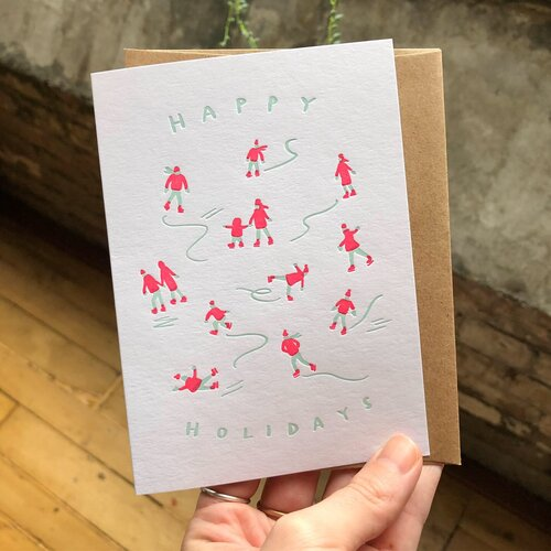 All Sorts Press - Happy Holidays Skaters - Card