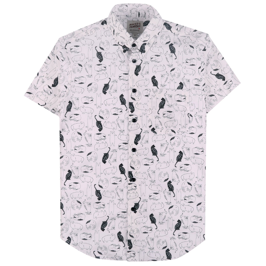 Naked And Famous - Easy Short Sleeve Shirt - Cat Sketches - Guys