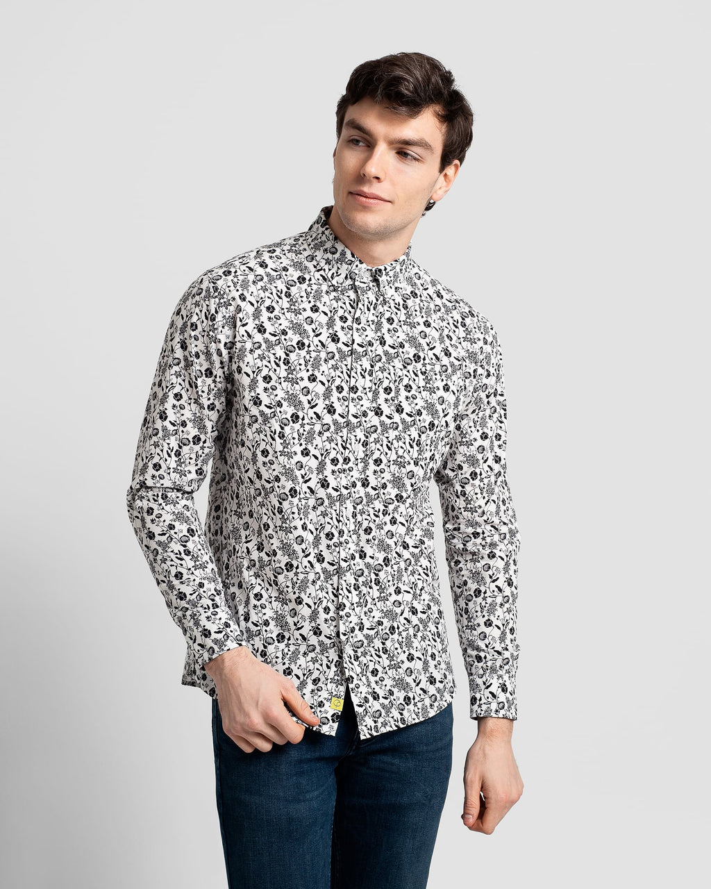 Poplin & Co. - Long Sleeve Shirt - Floral Fields - Guys