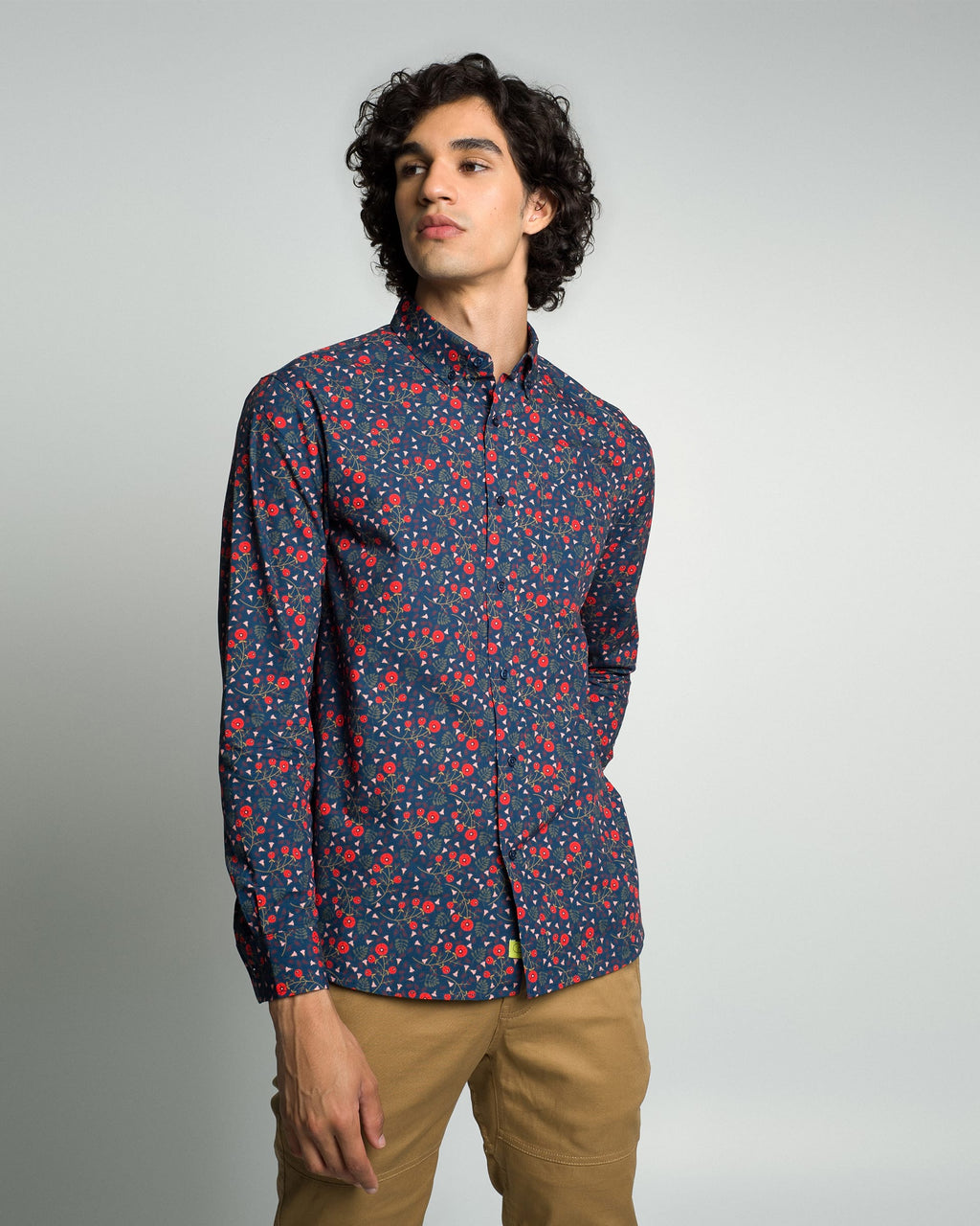 Poplin & Co. - Long Sleeve Shirt - Navy Floral Forest - Guys
