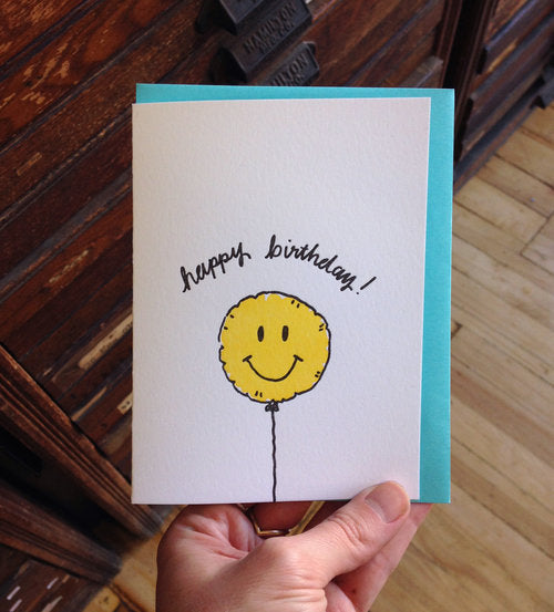 All Sorts Press - Happy Birthday Smiley Balloon - Card