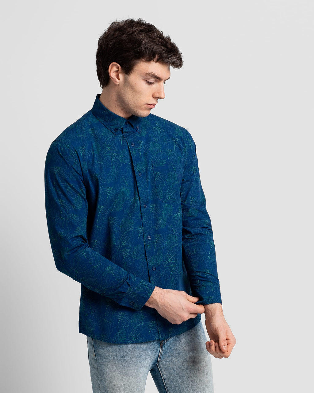 Poplin & Co. - Long Sleeve Shirt - Midnight Monstera - Guys