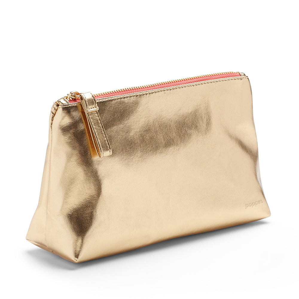 Poppin - Gold + Coral Medium Accessory Pouch