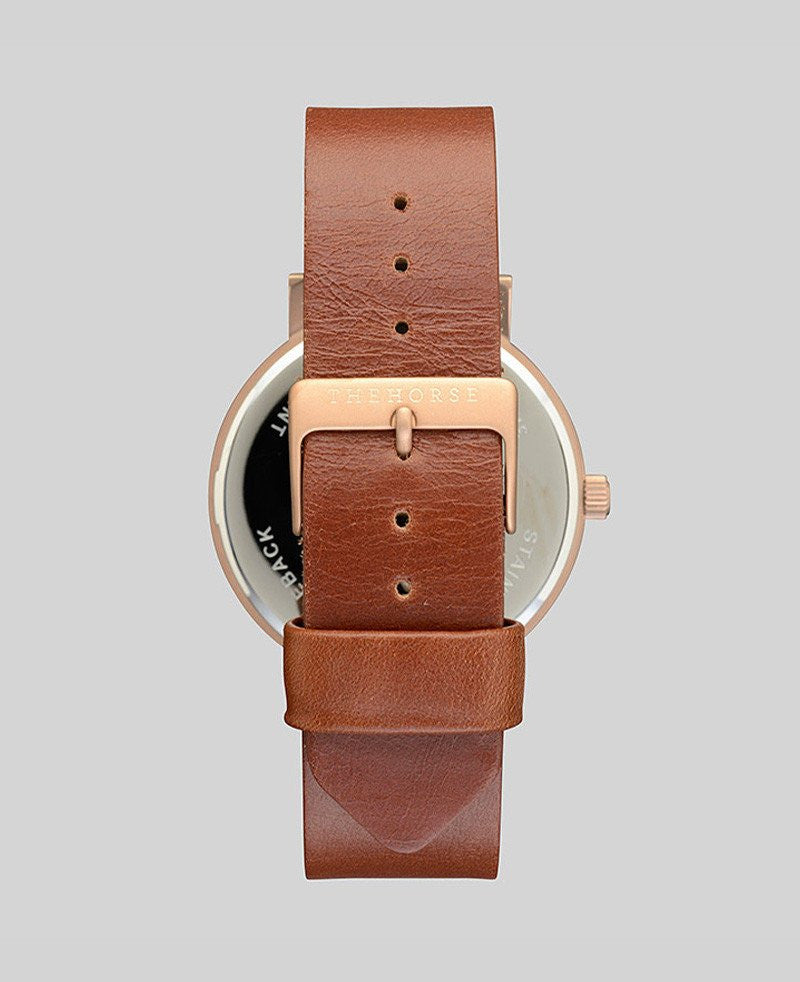 The Horse 'The Original' - Brushed Gold/White/Walnut Band 42mm Watch