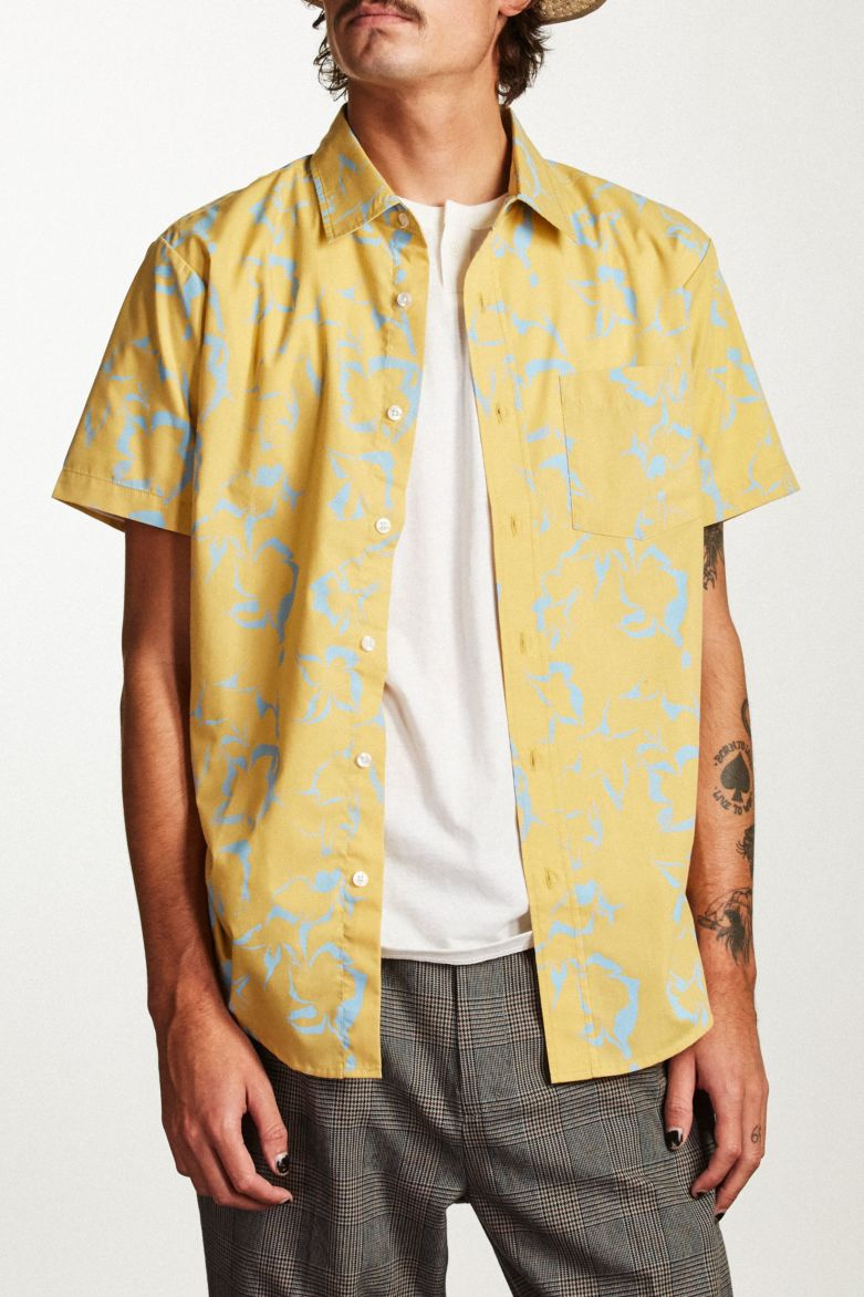 Brixton - Stuart Short Sleeve Shirt - Light Yellow - Guys