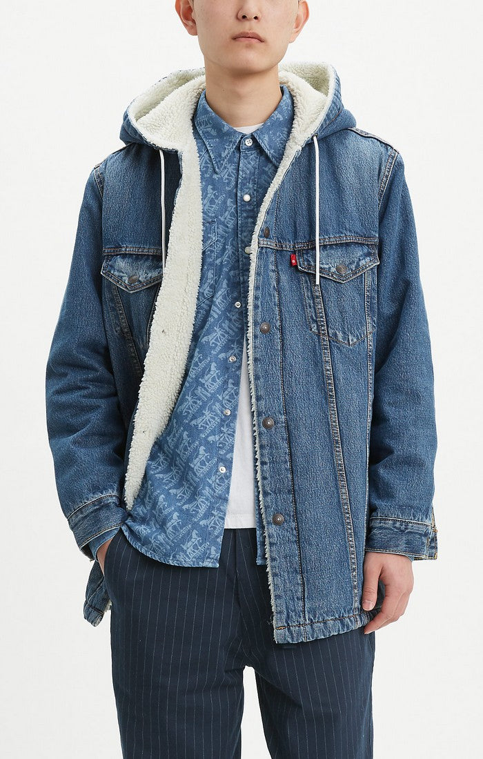 Levi's - Long Sherpa Hood Trucker - Medium Wash - Guyz