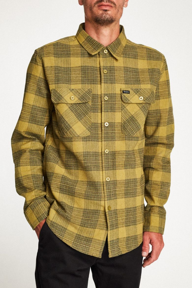 Brixton - Bowery L/S Flannel Shirt - Avocado - Guys