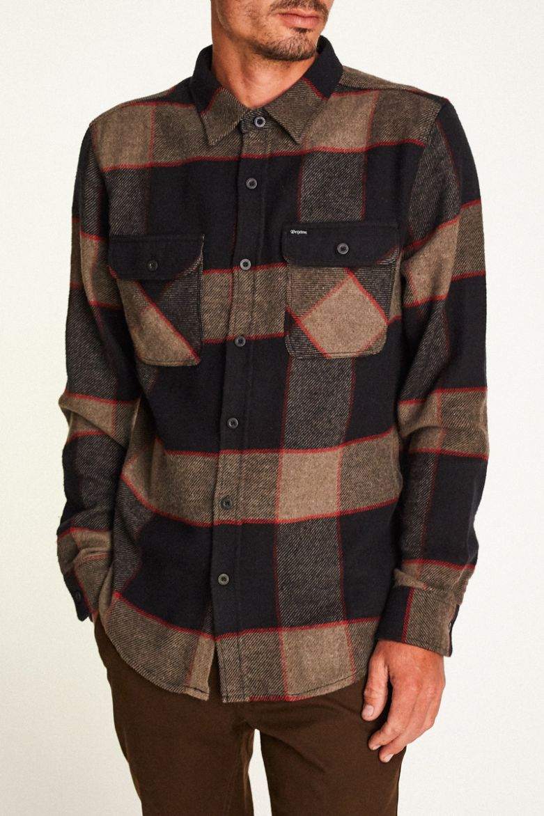 Brixton - Bowery L/S Flannel Shirt - Heather Grey / Charcoal - Guys