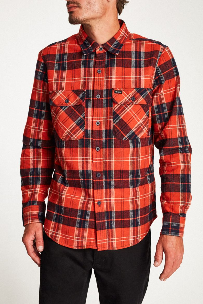 Brixton - Bowery L/S Flannel Shirt - Red/Navy - Guys
