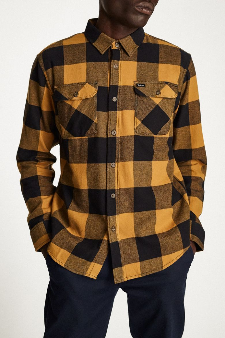 Brixton - Bowery L/S Lightweight Flannel Shirt - Black/Bronze - Guys