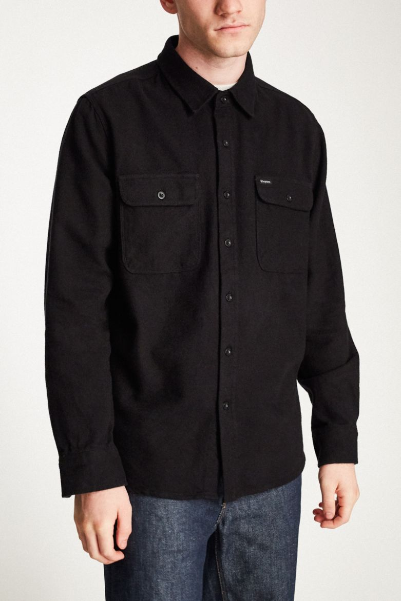 Brixton - Bowery L/S Flannel Shirt - Black - Guys