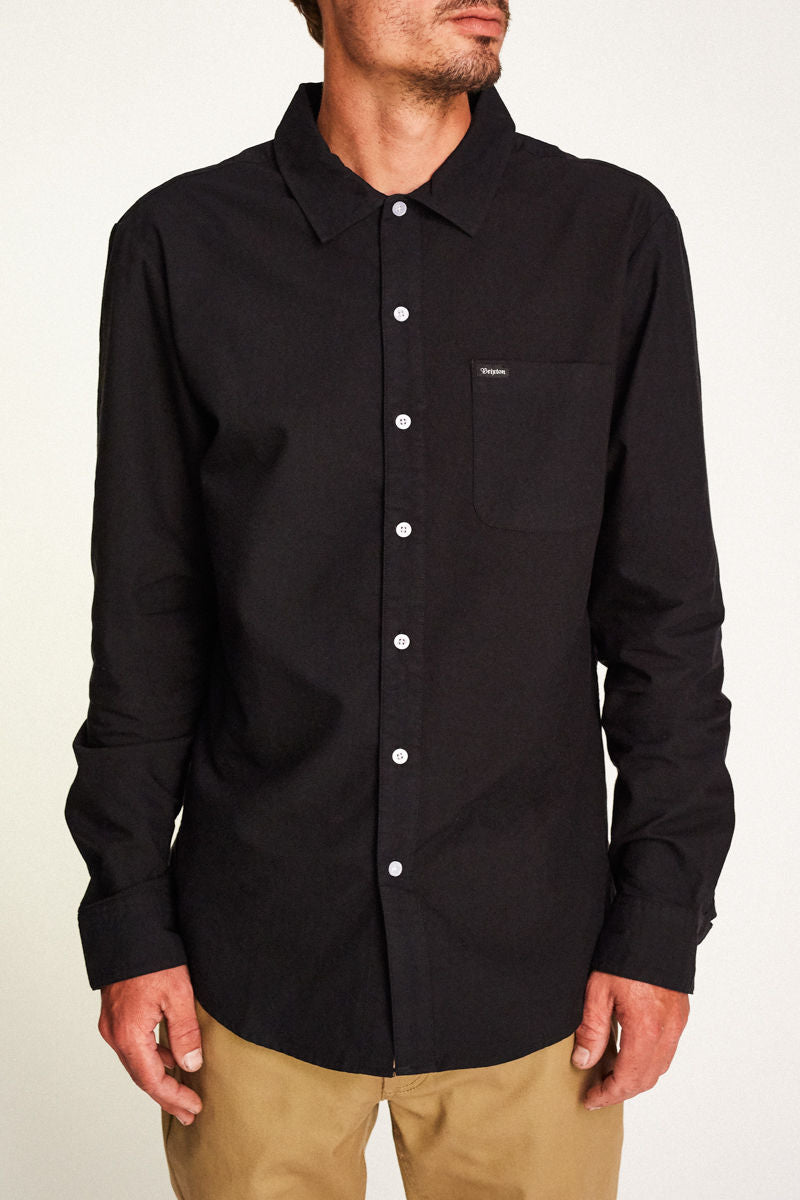 Brixton - Charter Long Sleeve Shirt - Black - Guys