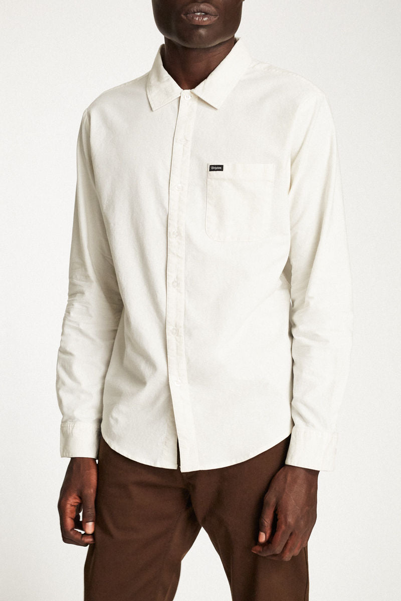 Brixton - Charter Long Sleeve Shirt - Off White - Guys