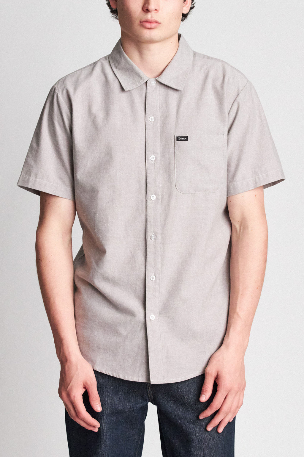 Brixton - Charter Oxford Short Sleeve Shirt - Grey - Guys