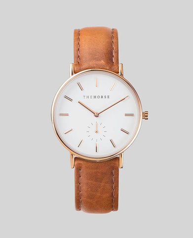 The Horse 'The Classic' - Rose Gold/White/Tan Leather 36mm Watch