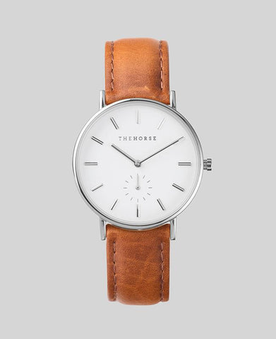 The Horse 'The Classic' - Steel/White/Tan Leather 36mm Watch