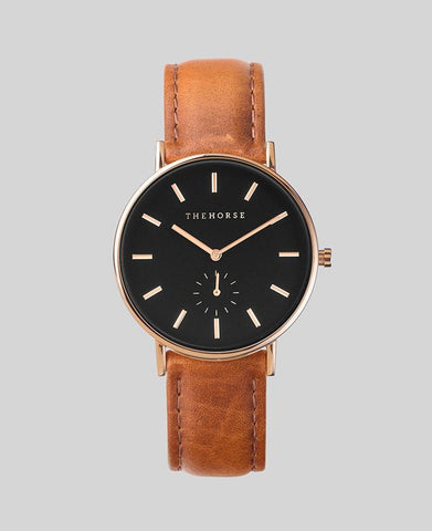 The Horse 'The Classic' - Rose Gold/Black/Tan Leather 36mm Watch
