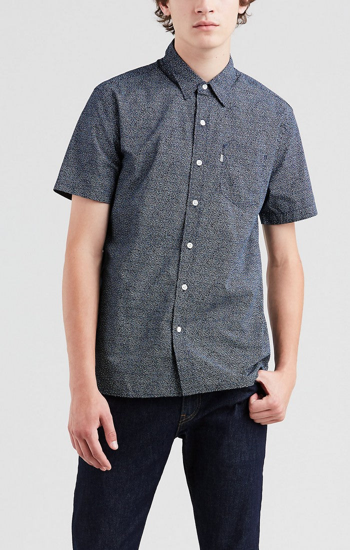 Levi's - Sunset 1 Pkt - Microstars Marshmallow (Blue) - Short Sleeve Shirt - Guys