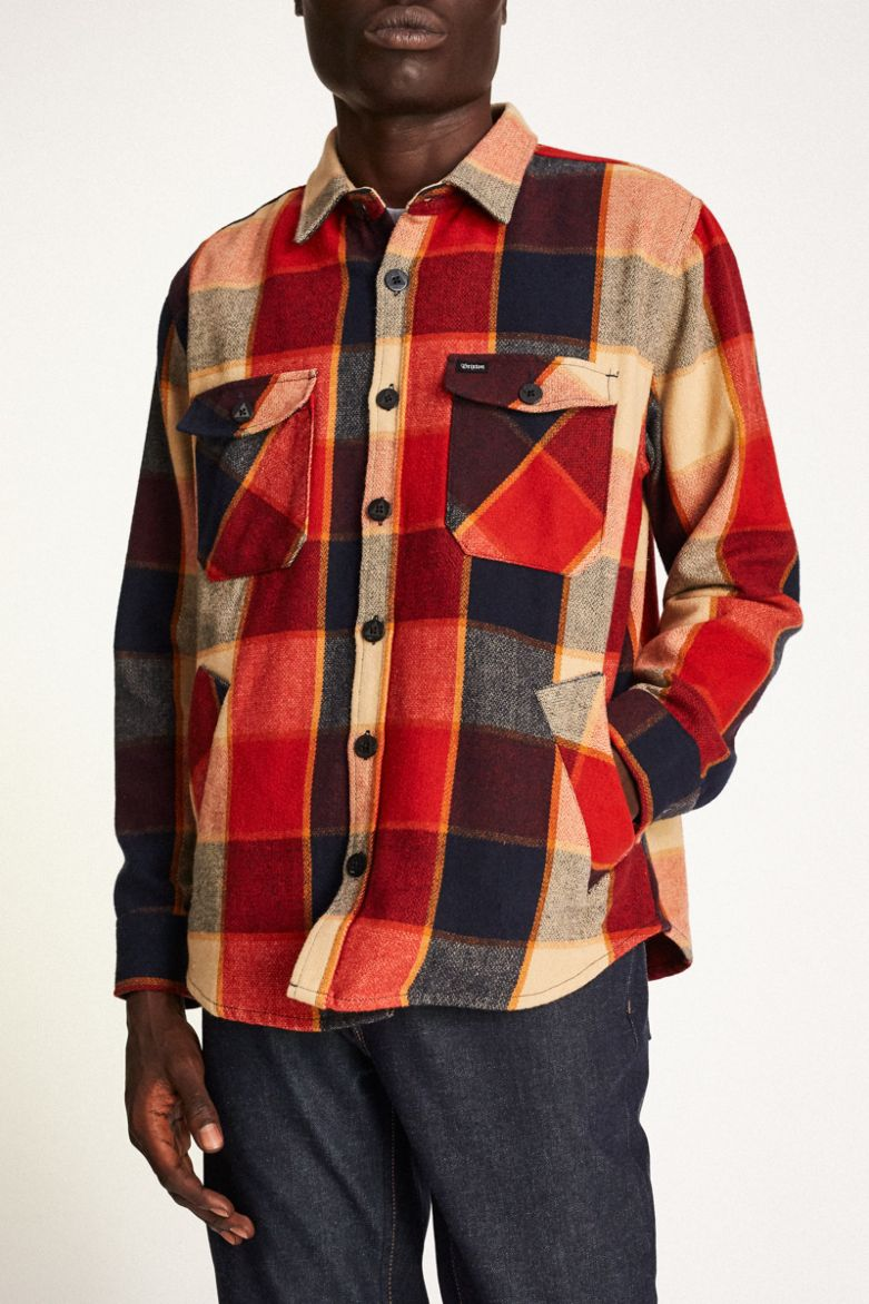 Brixton - Durham L/S Flannel Shirt - Red/Navy - Guys