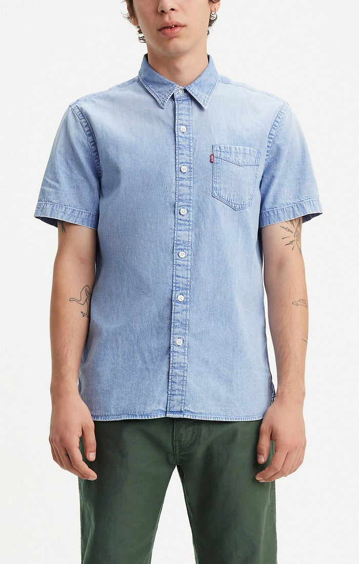 Levi's - Sunset 1 Pkt - Bright Sulphur Blue - Short Sleeve Shirt - Guys