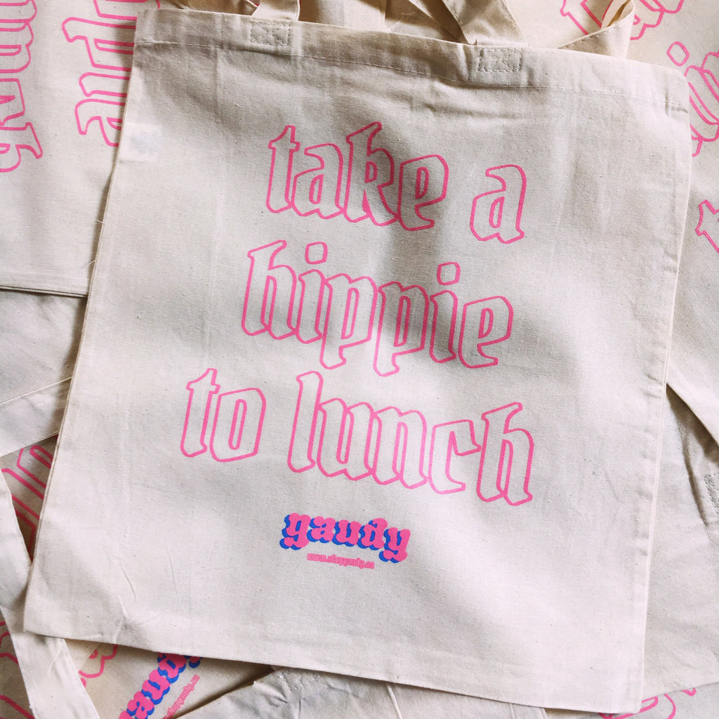 """Take a Hippy to Lunch"" - Made by Gaudy - Tote Bag"