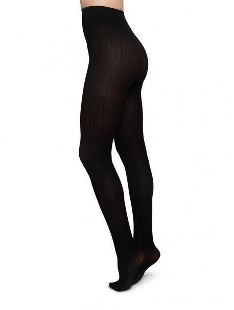 Swedish Stockings - Alma Rib Tights - Black - Gals