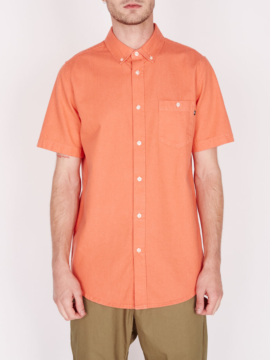 Obey - Keble Denim Short Sleeve Shirt - Ember - Guys