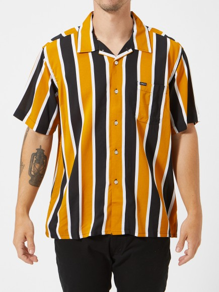 Obey - Sutter Stripe Short Sleeve Shirt - Mineral Yellow - Guys