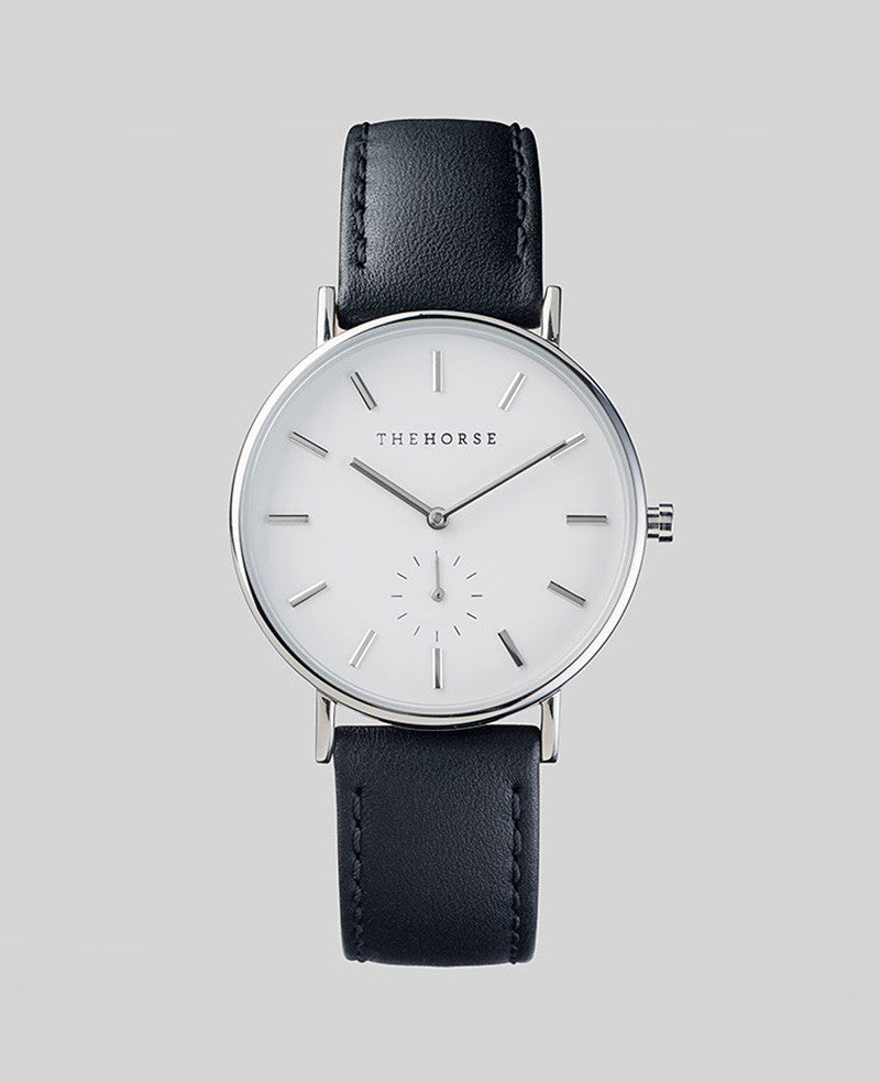 The Horse 'The Classic' - Silver/Black Leather Classic 36mm Watch