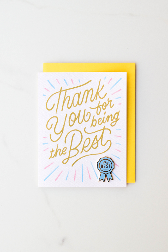 Valley Cruise Press - Thanks For Being The Best - Enamel Pin + Greeting Card