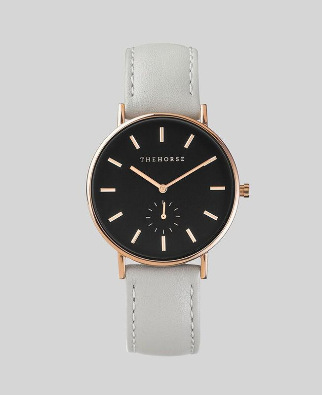 The Horse 'The Classic' - 36mm Polished Rose Gold / Black / Grey Band