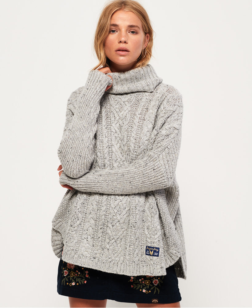 Superdry - Pia Nep Cable Cape - Grey - Gals