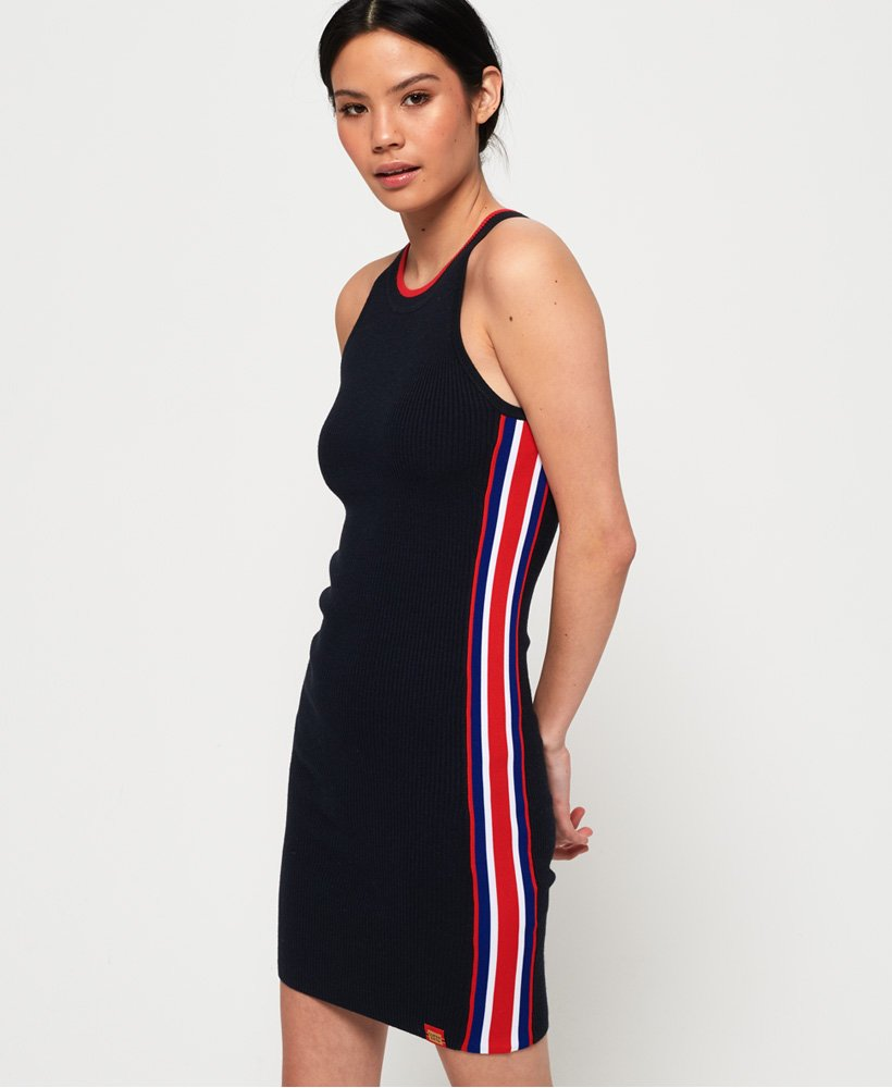 Superdry - Sporty Taped Ribbed Dress - Eclipse Navy - Galz