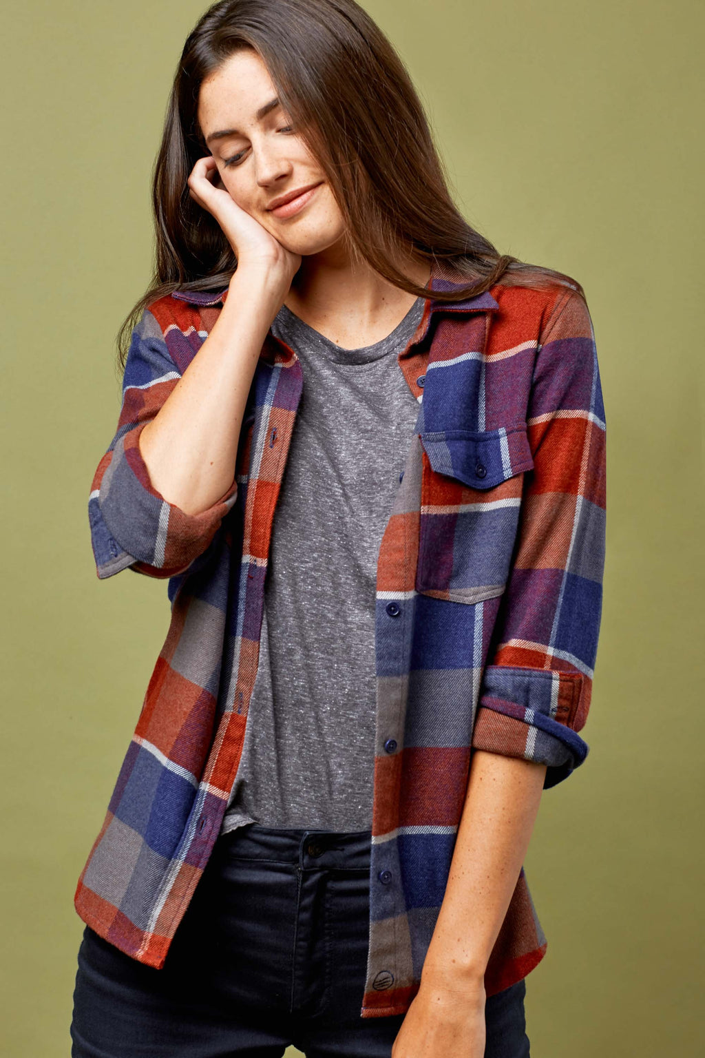 United By Blue - Fremont Flannel Button Down - Red - Gals