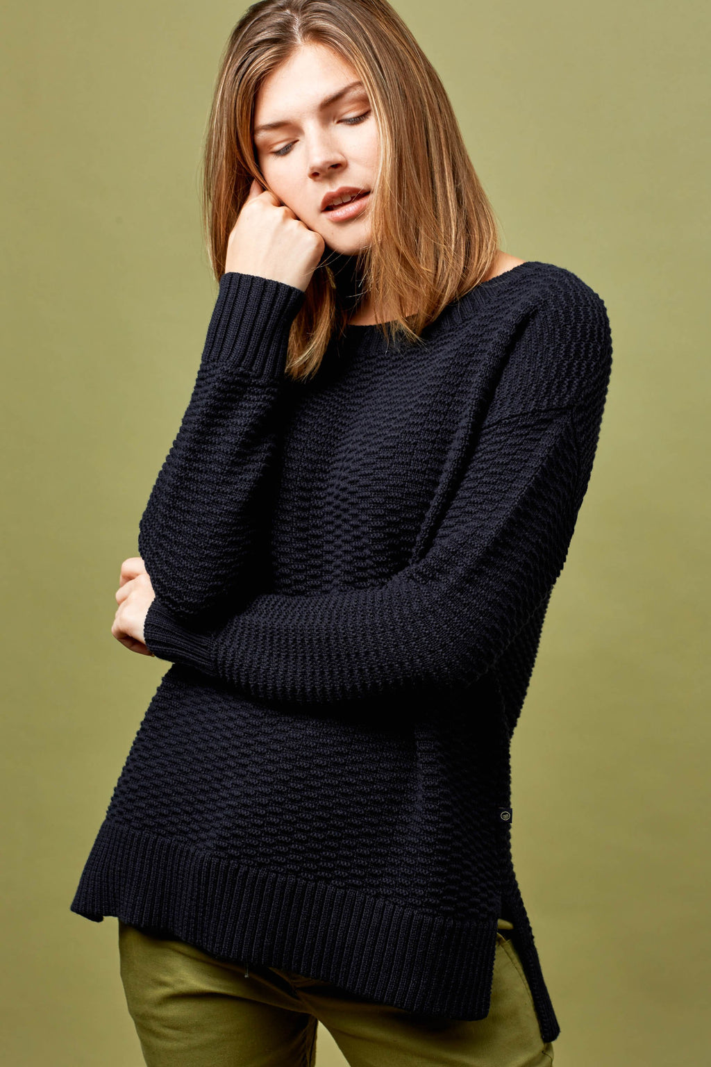 United By Blue - Himley Waffle Sweater - Black - Gals