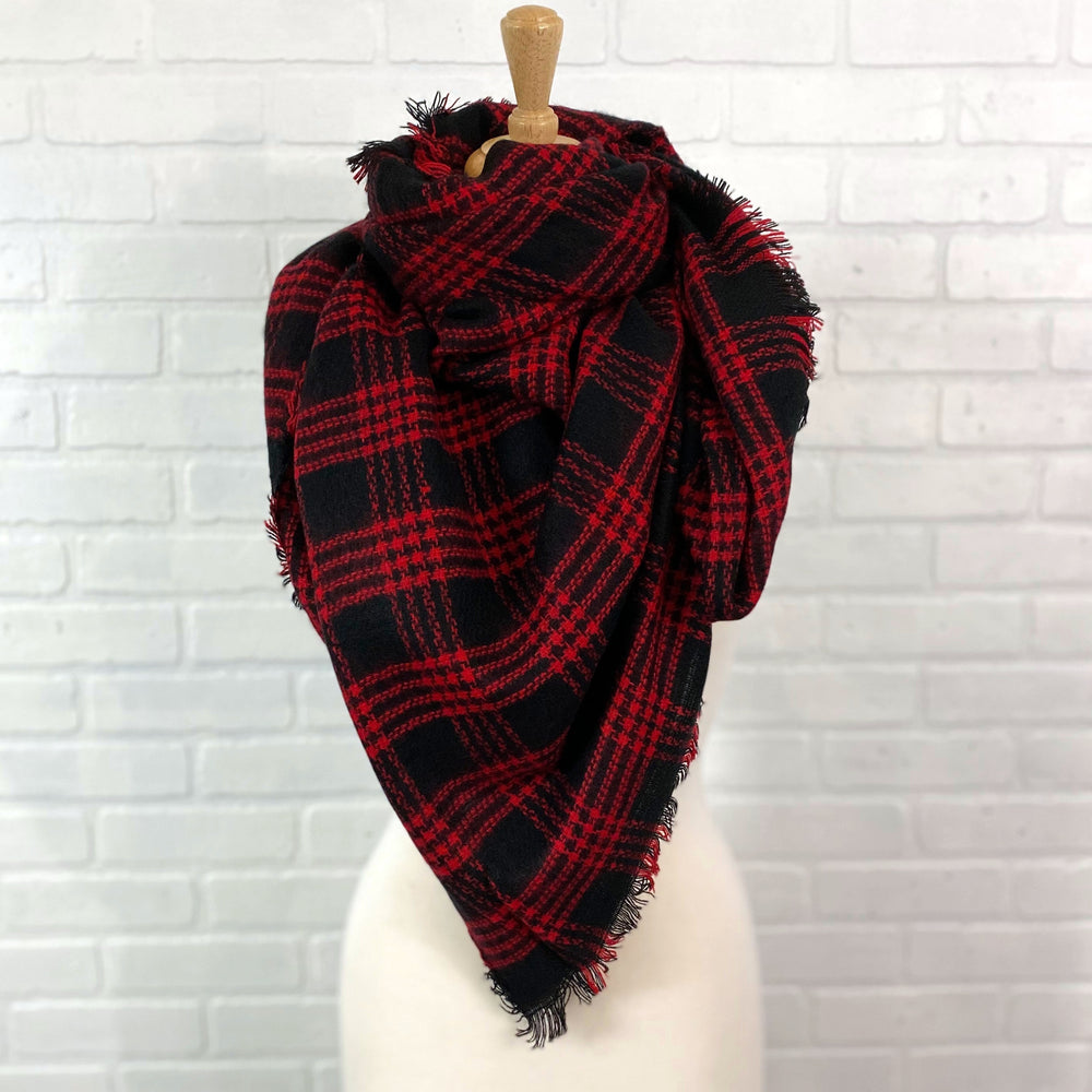Red/Black Plaid Blanket Scarf