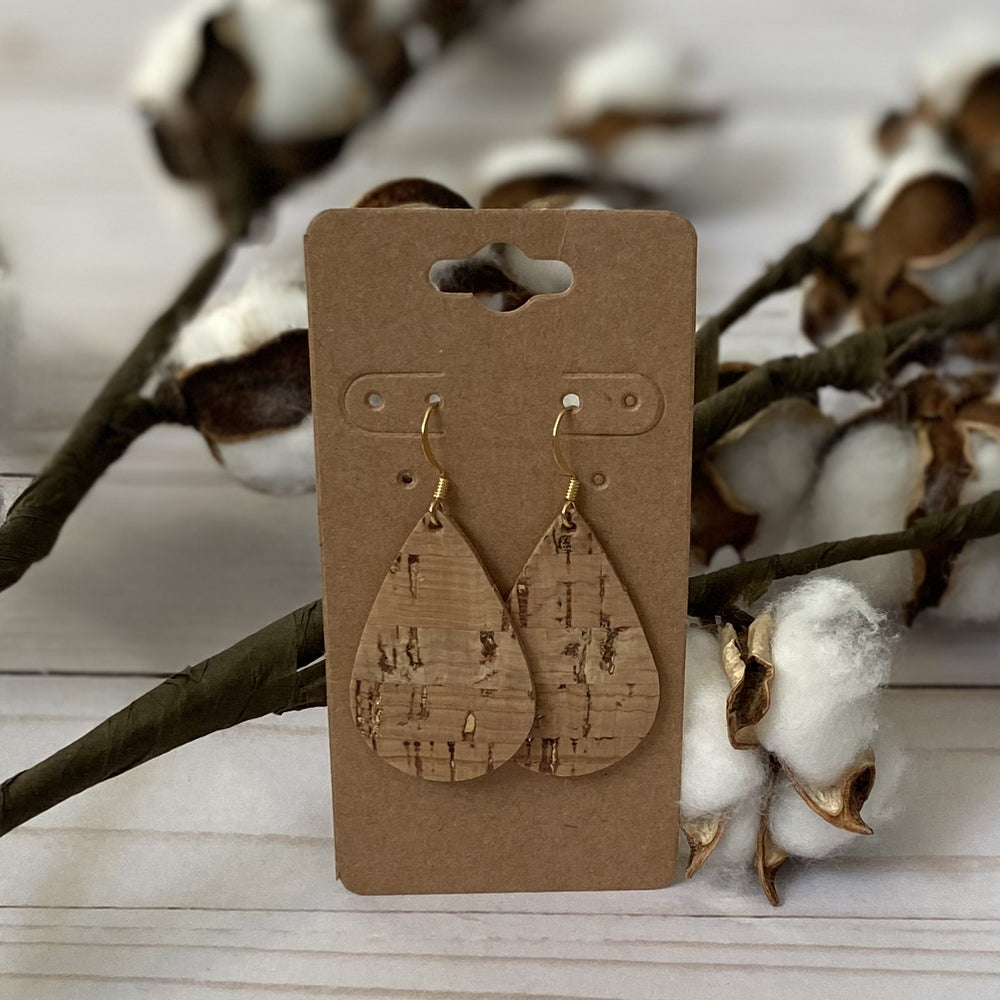 Cork Pattern Teardrop Earrings