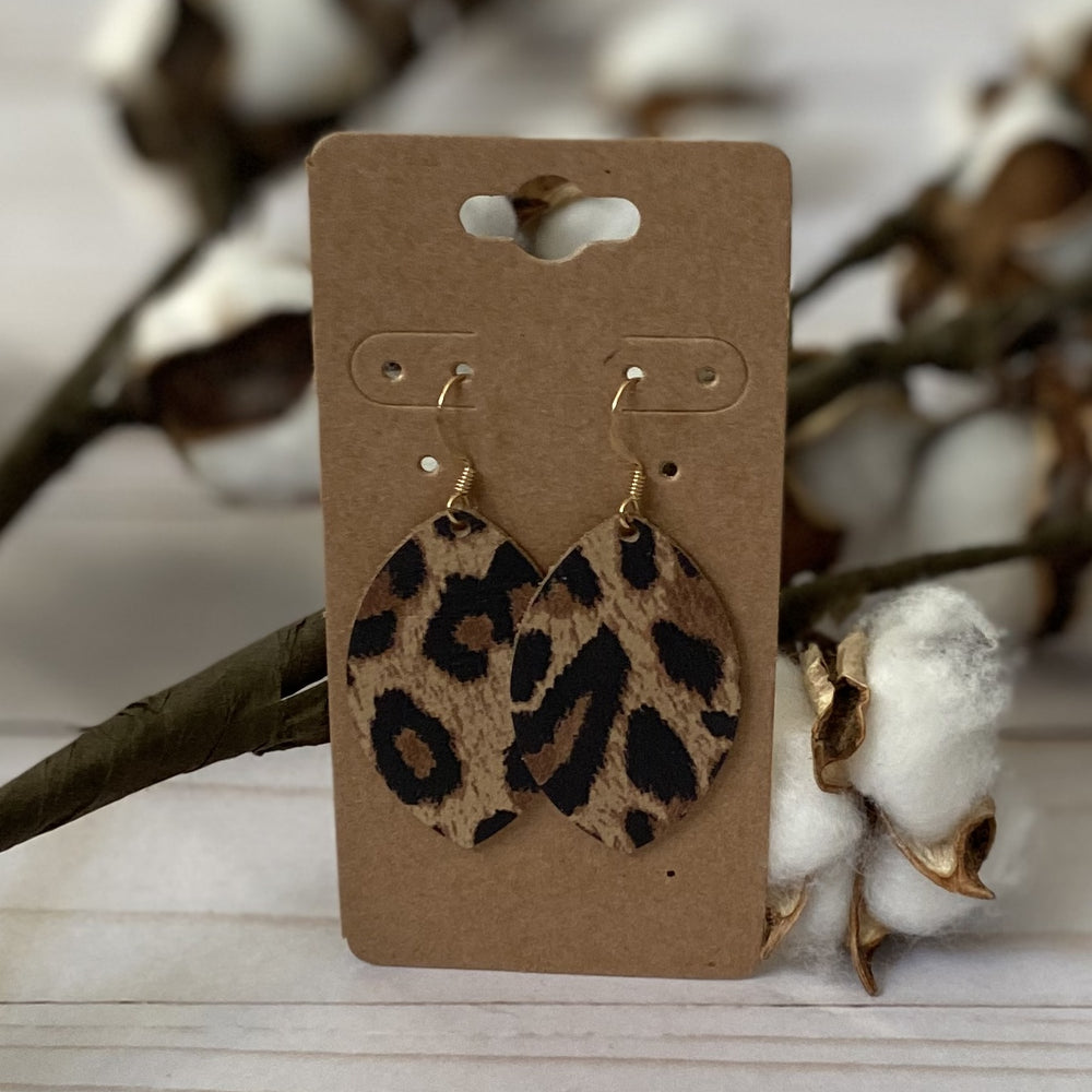 Tan Leopard Leather Leaf Earrings