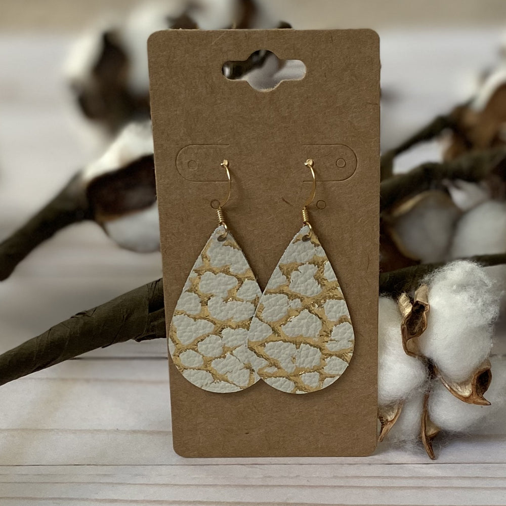 Gold & Ivory Crackle Teardrop Earrings