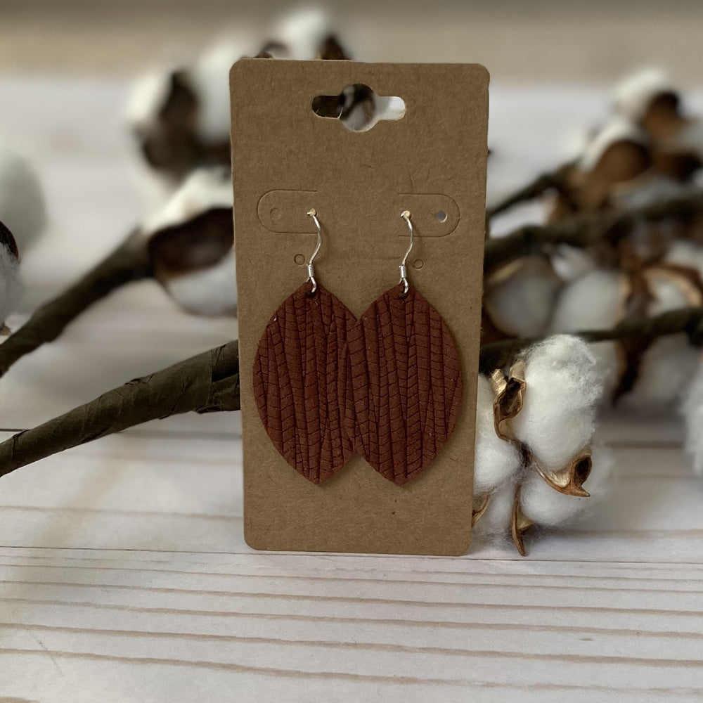 Bamboo Pattern Leather Leaf Earrings - Mel & Mae