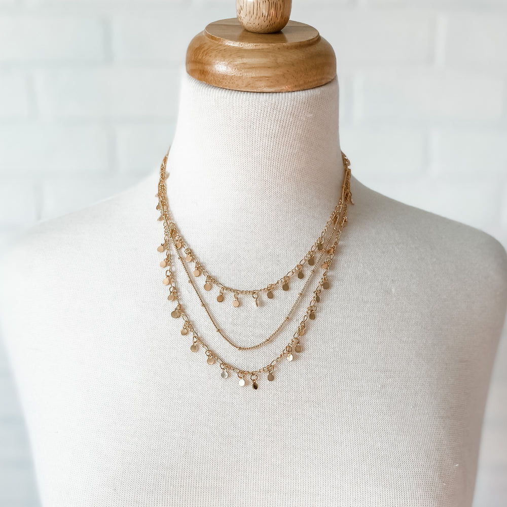 Gold Triple Chain Necklace w/ matching earrings