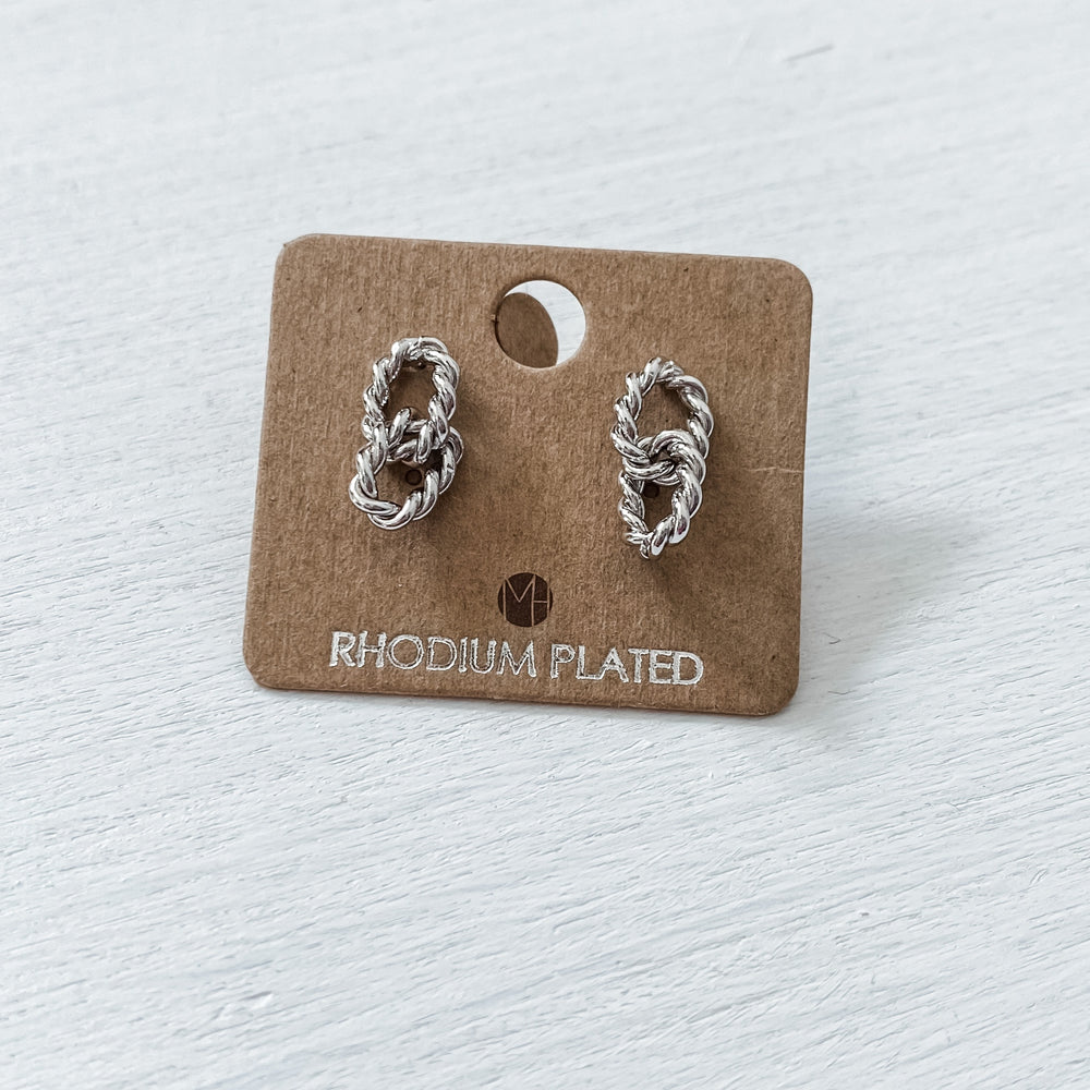 Silver Link Twist Earrings