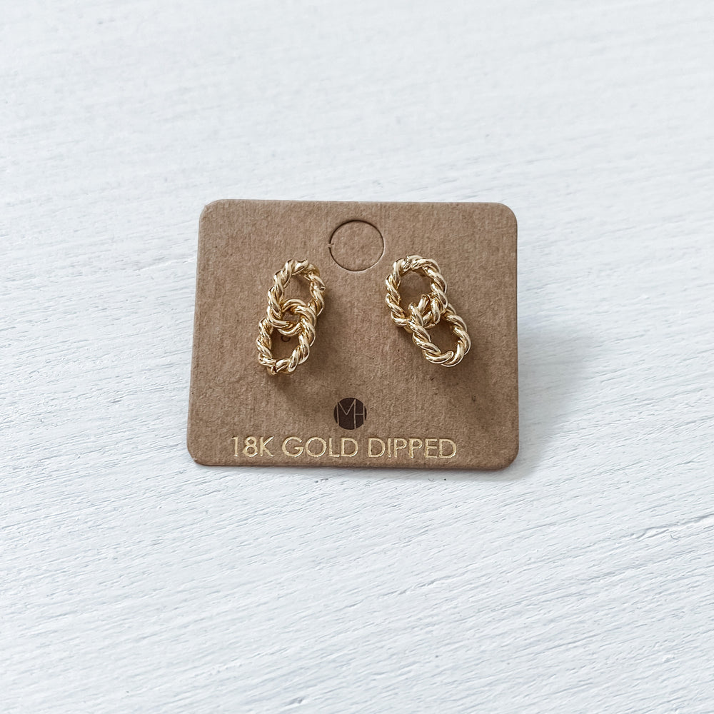 Gold Link Twist Earrings