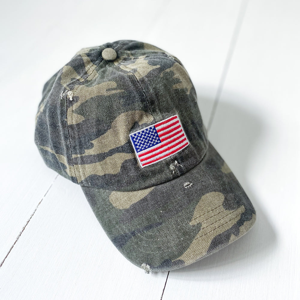 Distressed Camo American Flag Hat