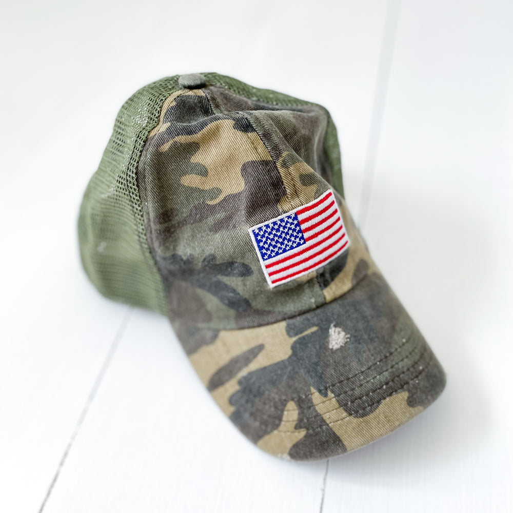 Distressed Camo Trucker Hat