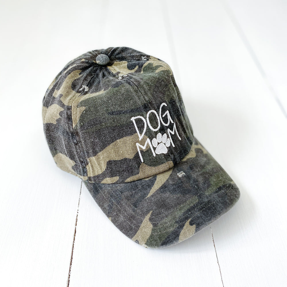 Distressed Camo Dog Mom Baseball Hat