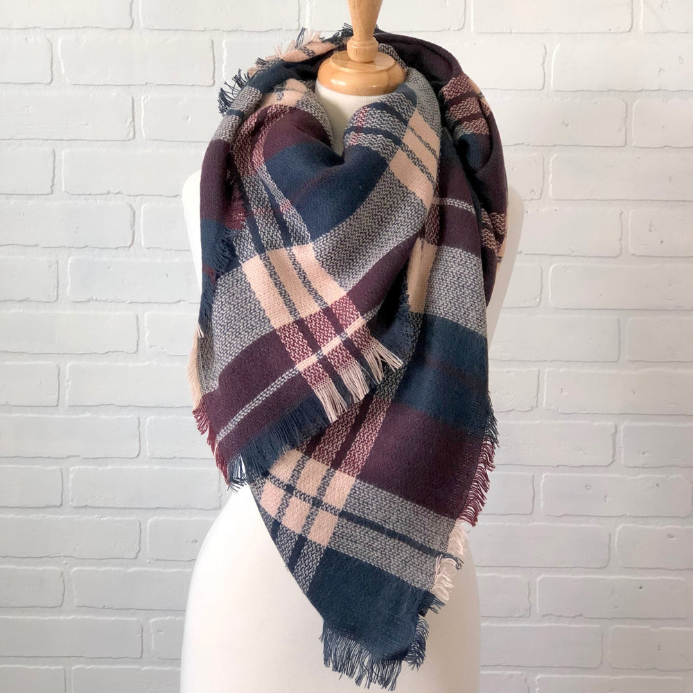 Burgundy/Navy Plaid Blanket Scarf