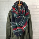 Navy/Red Plaid Blanket Scarf - Mel & Mae