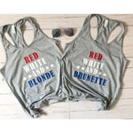 Red White & Blonde Graphic Tank - Mel & Mae